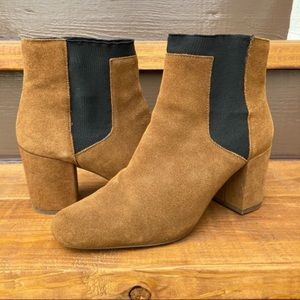Zara Camel Gore Chelsea Heeled Ankle Bootie